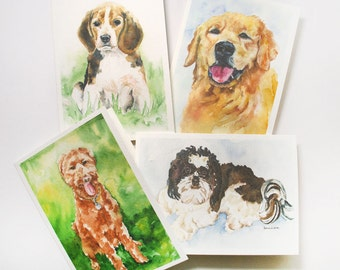 Dogs Watercolor Greeting Card Set - Dog lover - Watercolor Paintings - Art Cards