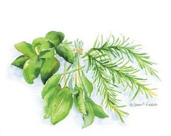 Fresh Herbs Watercolor Painting Giclee Print - 10 x 8 - Garden Art - Kitchen Art Print - Cooking Art - 11 x 8.5