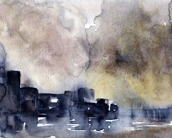 Watercolor Painting Abstract Cityscape Fine Art By