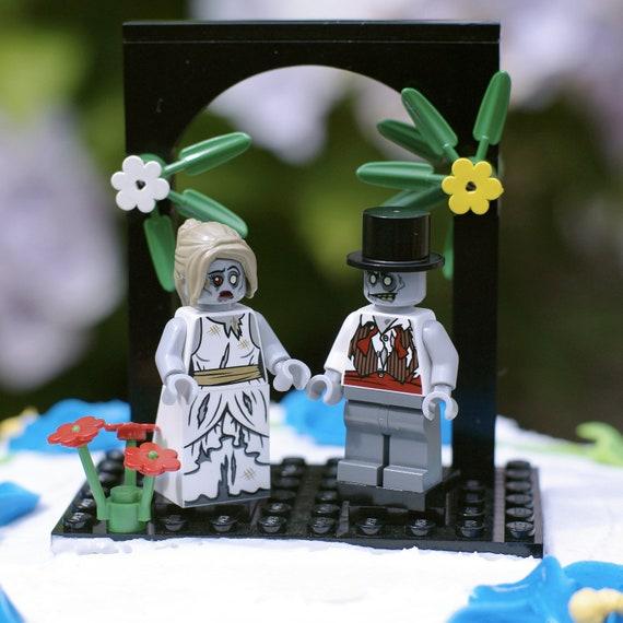 Zombie Bride & Groom LEGO cake topper
