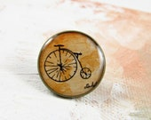 Antique Bicycle -- Tie Tack Men's Accessory, Illustration, Brass Setting