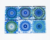 Mandala Magnets - Set of 6 Square Glass Magnets in Blue, green (B3)