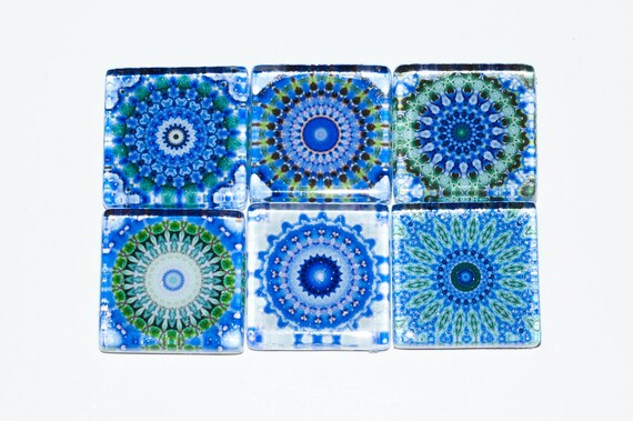Mandala Magnets - Set of 6 Square Glass Magnets in Blue, green (B3)