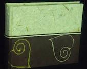 Handmade photo album brown batik paper with golden hearts ethnic style original gift