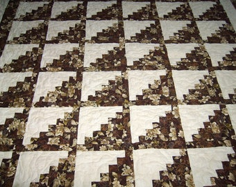 """Robert Kaufman La Scala 3 prints """"Log Cabin"""" pattern- 78"""" X 89"""" Patchwork Quilt- Handmade Quilt-Made in USA by MJ Quilts-Free Shipping"""