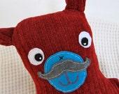 Mustache Red Holiday Sweater Bear says Ho-Ho-Ho