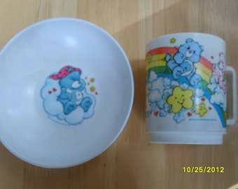 Care Bears, Vintage Care Bears Plastic Cup and Bowl by Deka, Childrens Dishes, Collectible Care Bears