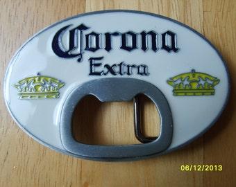 Corona Extra Beer Advertising, Corona Beer Belt Buckle, Enamel with Bottle Opener, Western Buckle, Advertising Item, Cowboy Buckle,