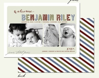 Modern Cardstock Baby Boy Photo Birth Announcement - 5x7 Front & Back Printing - Custom Colors Available - Set of 25