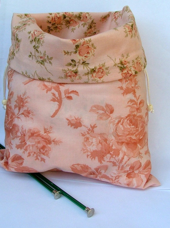 Reversible Cotton Drawstring Project Bag 10 x 13 Pink tone on tone roses