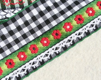 Vintage Gingham Ribbon Trim Black and White with Flowers 2 yards