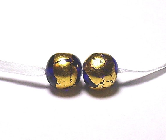 Blue and Gold Lampwork Pair