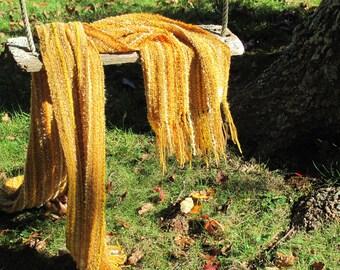 Sun Gold Yellow Burnt Orange Scarf, Oversized Large Long Mens Womens Autumn Fall Winter Scarf, Rustic Cabin Urban Woven Wrap Shawl Accessory