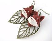 BLACK FRIDAY SALE - Cyber Monday Sale - Red Fox Jewelry - Autumn Jewelry - Fox Ears Cosplay Jewelry - Fox Earrings - Fox Gift - Fox Face