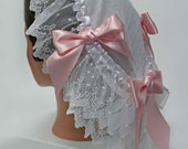 Pink and White Victorian Cap