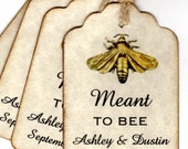 50 Vintage Meant To BEE Wedding Favor Gift Tags / Wedding Wish Tags / Personalized Escort Tags / Place Cards / Honey Jar Labels Labels
