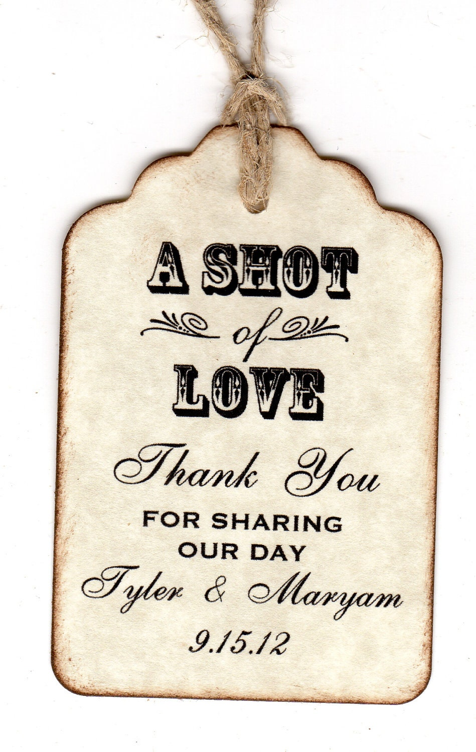 Wedding Gift Sticker Template : 50 Personalized Shot Of Love Wedding Favor Tags Place Card