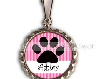 Personalized Zipper Pulls, Backpack Zipper Pull Charm - Dog Paw Charm, Back to School Party Favors, bottlecap Zipper Pull Charm
