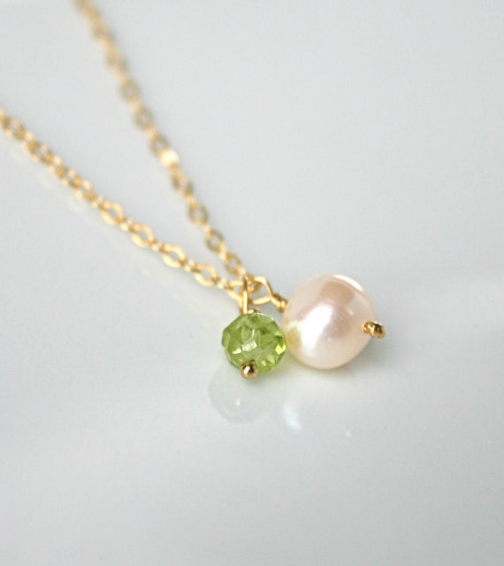 Pearl and peridot necklace august birthstone jewelry new mom jewelry