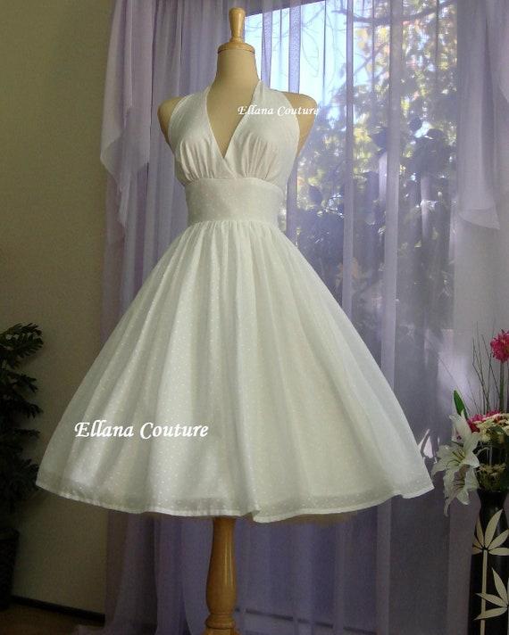 Shirley swiss dot cotton wedding dress vintage inspired for Dotted swiss wedding dress