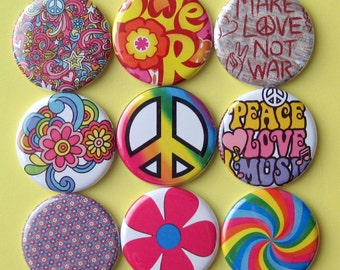Sixties Magnets - Set of Nine 1.25 Inch Button Magnets Packaged in a Custom Box