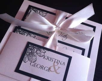 Creme and Black Handmade Wedding invitations