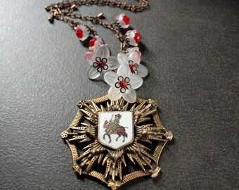 Medieval Coat of Arms Antique Brass Medallion Statement Necklace with Dainty Red and White Flower Charms