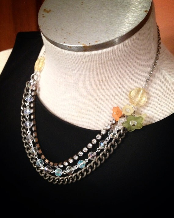 Reserved for Karen - Kitschy Garden Necklace with Acrylic Flower Charms and Antique Silver Chain