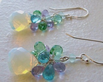 Sale Earrings. Opaline Moonstone Peridot Apatite Amethyst Gems.