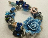 Blue Day of the Dead / Dia de los Muertos / Sugar Skull Jewelry / Cowgirl Charm Bracelet - MooDY BLue
