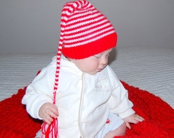 Christmas baby hat Pixie Elf Munchkins  3-6 months or any size. Cord and tassel. Ready to ship from Colorado. Perfect photo prop.