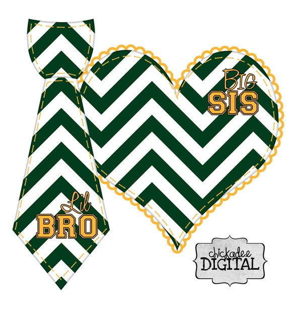 Gold and Green Sports Team Colors Big Sis and Lil Bro Green and Gold Chevron DIY Iron On Heart and Tie Decal for football team shirts