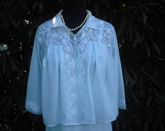 1950s Chiffon Bed Jacket, Exquisite Bed Jacket, Pretty  Baby Blue Bed Jacket  //   Size M