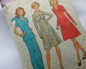 Seventies Retro Sewing Pattern Dress and Pants, Tunic
