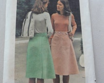 1970s Back Wrap Skirt, Knee Length- Vintage Butterick Sewing Pattern 4041- Size Small Waist 24 25