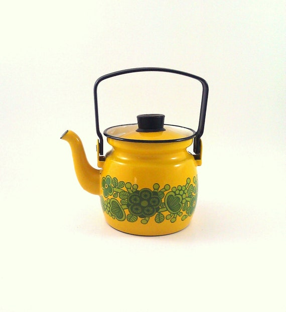 Finel of Finland Enamelware Tea Kettle in Yellow Designed by Kaj Franck