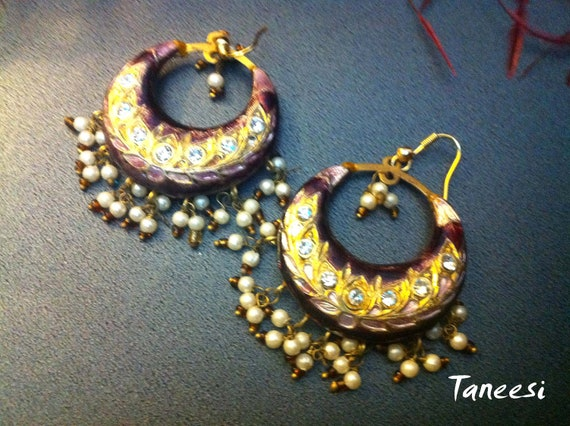 Vintage purple gold  Earrings ,Jaipur Jhumkas Purple,Lac Earrings, Lac earrings black