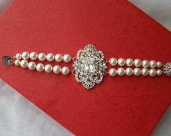 Bridal Bracelet, Victorian Brooch Bracelet, Cubic Zirconia 2 Strands Bracelet, Swarovski Pearl Bracelet, *S1-B11J