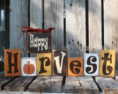 Fall Autumn Thanksgiving HAPPY HARVEST Wood Block Set Primitive Fall Autumn Thanksgiving Gift Country Wood Sign
