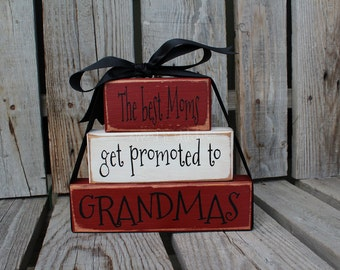 Dad Grandpa Grandma Nana Mom Father Papa Stacker wood blocks personalized gift fathers day home decor.