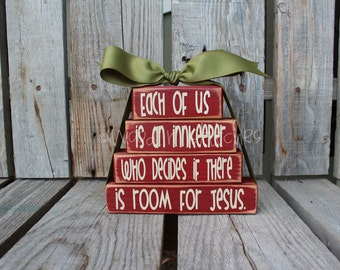 Christmas decor Wood Stacker block set Gift Christian Religious Jesus Faith Seasonal Home decor gift Faith