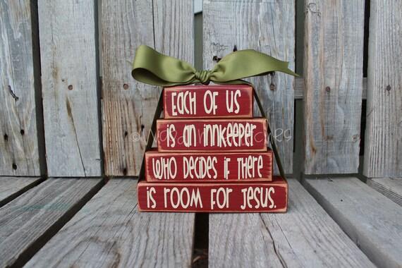 Christmas decor wood stacker block set gift christian for Best home decor on etsy