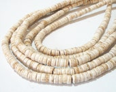 """RESERVED Ivory Heishi Disc Beads - White with Brown Matrix Disk Coin Beads - 16""""Strand - Howlite Gemstone Beads -  DIY Jewelry Making"""