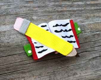Back to School Pencil and Book Ribbon Sculpture Hair Clip, Girls Hair Bows, Back to School Bow, Book and Pencil Hair Clip, Free Ship Promo
