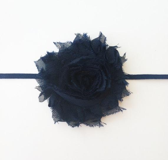 Navy Blue Shabby Chic Chiffon Flower Headband, Baby Headband, Toddler Headband, Navy Flower Headband, Navy Blue Headband, Newborn Headband
