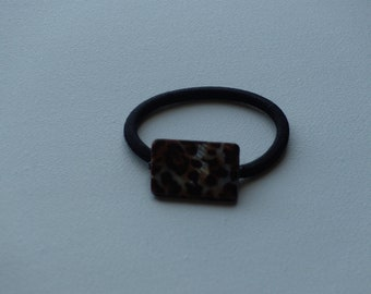 Brown leopard print iridescent rectangle shell bead ponytail holder