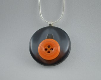 """Sterling silver with gray & orange vintage buttons, pendant necklace, 18"""""""