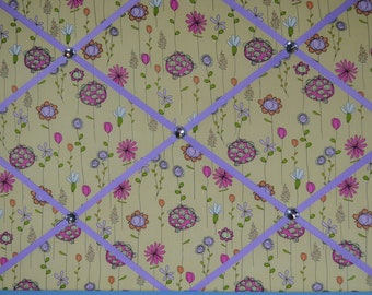 Yellow with pink, purple, white, & orange flowers french memo board, 18 x 24, large