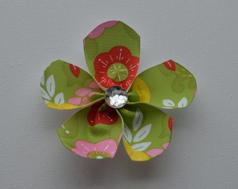 Green with yellow, pink, & red flowers ribbon flower hair alligator clip with clear bling faceted rhinestone
