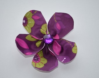 Dark purple, pink, & green floral ribbon flower hair alligator clip with purple bling faceted rhinestone